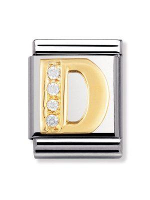 Nomination BIG - BUCHSTABEN Edelstahl, 18K-Gold und Cubic Zirc. (D)
