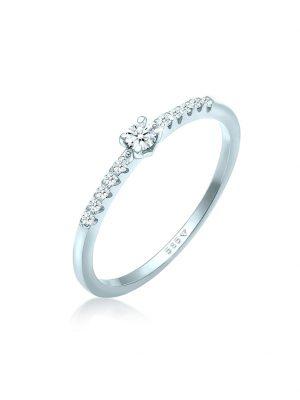 Ring Diamant Verlobung Hochzeit (0.11 Ct) 585 Weißgold DIAMORE Weiß