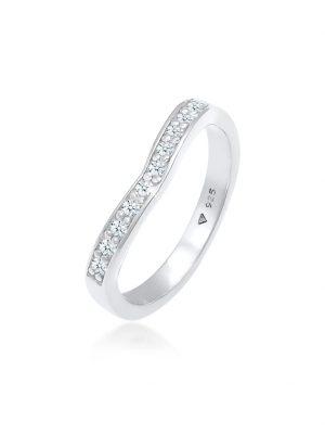 Ring Diamanten (0.15 Ct) V-Form Verlobung 925 Silber DIAMORE Silber