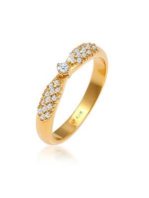 Ring Verlobung Glamoure Diamant (0,16 Ct) 925 Silber DIAMORE Gold