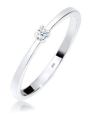 Ring Verlobung Solitär Diamant (0.03 Ct.) 925 Silber DIAMORE Weiß