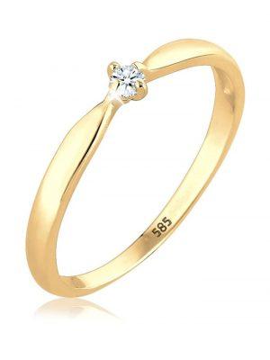 Ring Verlobung Welle Diamant (0.03 Ct.) 585 Gelbgold DIAMORE Gold