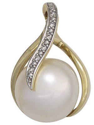 SIGO Anhänger 585 Gold Gelbgold 1 Süßwasser Perle 6 Diamanten Perlenanhänger