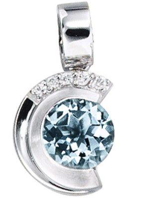 SIGO Anhänger 585 Gold Weißgold mattiert 5 Diamanten Brillanten 1 Aquamarin blau