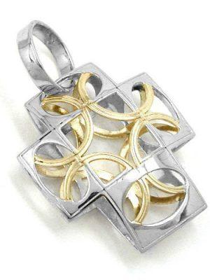 SIGO Anhänger, Kreuz bicolor, 9Kt Weißgold