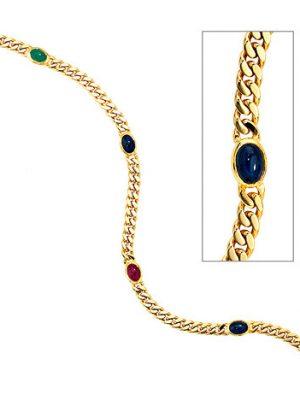 SIGO Armband 585 Gold Gelbgold massiv 19 cm Safir Rubin Smaragd Cabochon Goldarmband