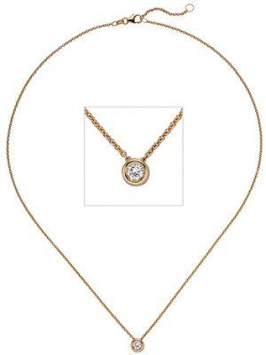 SIGO Collier Kette mit Anhänger 585 Gold Rotgold 1 Diamant Brillant 0,25 ct. 45 cm