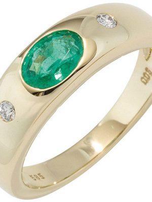 SIGO Damen Ring 585 Gold Gelbgold 1 Smaragd grün 2 Diamanten Brillanten Goldring