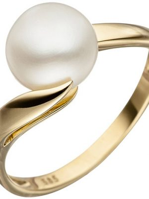 SIGO Damen Ring 585 Gold Gelbgold 1 Süßwasser Perle Perlenring Goldring
