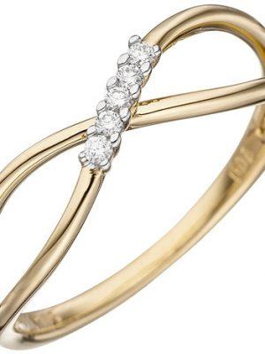 SIGO Damen Ring 585 Gold Gelbgold 5 Diamanten Brillanten Goldring Diamantring