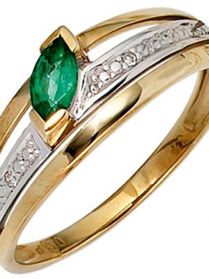 SIGO Damen Ring 585 Gold Gelbgold bicolor 1 Smaragd grün2 Diamanten 0,01ct. Goldring