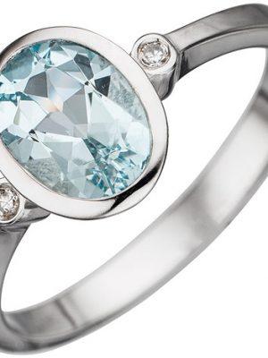 SIGO Damen Ring 585 Gold Weißgold 1 Aquamarin hellblau blau 2 Diamanten Goldring