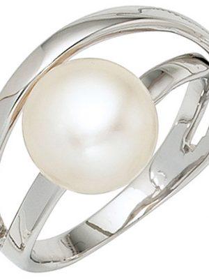 SIGO Damen Ring 925 Sterling Silber rhodiniert 1 Süßwasser Perle Perlenring