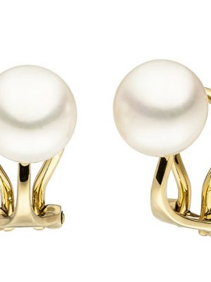SIGO Ohrclips 585 Gold Gelbgold 2 Süßwasser Perlen Ohrringe Perlenohrclips