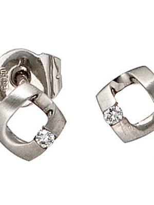 SIGO Ohrstecker 950 Platin matt 2 Diamanten Brillanten Ohrringe Platinohrringe