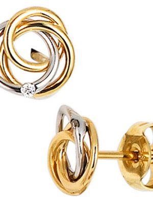 SIGO Ohrstecker Knoten verschlungen 585 Gold bicolor 2 Diamanten Brillanten Ohrringe