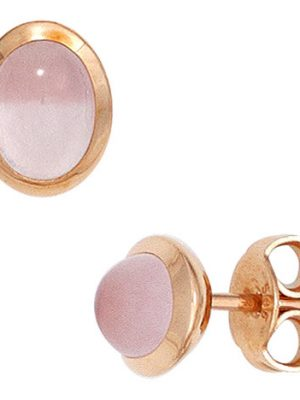 SIGO Ohrstecker oval 585 Gold Rotgold 2 Rosenquarz Cabochons rosa Ohrringe