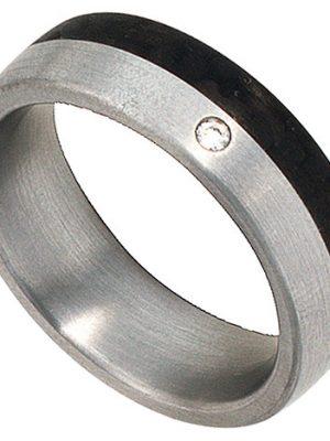 SIGO Partner Ring Edelstahl mattiert mit Carbon 1 Diamant Brillant