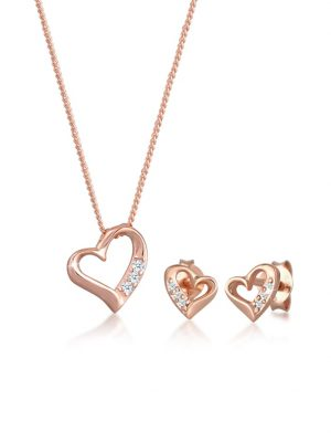 Schmuckset Herz Liebe Diamant (0.075 Ct.) 925 Silber DIAMORE Rosegold
