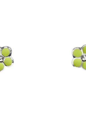 Schneider Basic Ohrringe - Weißgold - Blume mit grünem Email - KI56