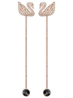 Swarovski 5373164 Ohrringe Ohrhänger Iconic Swan Schwarz Rosé Vergoldung