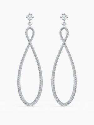 Swarovski 5518878 Ohrringe Ohrhänger Infinity Weiss Silber-Ton