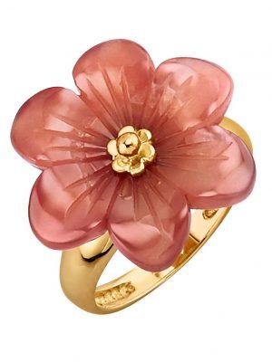 Blumen-Ring mit Karneol Sogni d'Oro Gelbgoldfarben