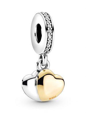 Charm-Anhänger -Doppeltes Herz Pandora Silberfarben::Gelbgoldfarben