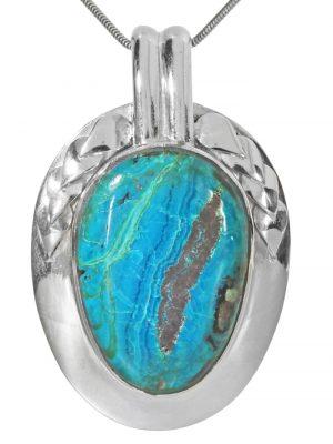 Chrysokoll Anhänger 925 Silber 1001 Diamonds Blaugrüntöne