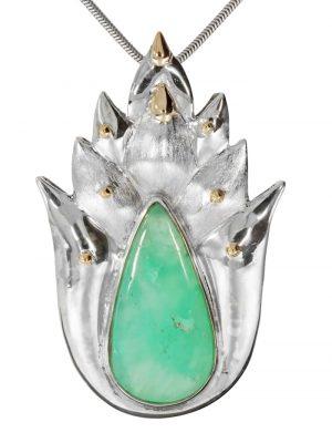 Chrysopras Anhänger 925 Silber 1001 Diamonds bunt