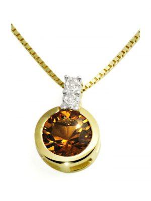 Collier 585/- Gelbgold 1 Citrin 2 Diamanten 0,02 ct. Goldmaid goldfarben