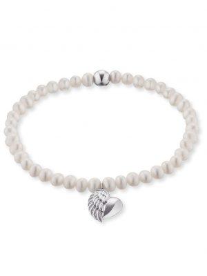 Engelsrufer ERB-HEARTWING-PE Armband Süsswasser-Perlen Herzflügel Silber