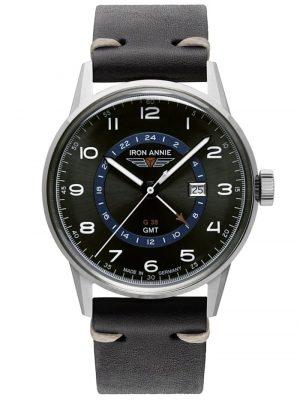 Herrenuhr G38 GMT mit schwarzem Lederband Iron Annie Schwarz