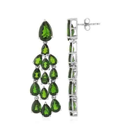 Ohrringe aus Silber mit Diopsiden