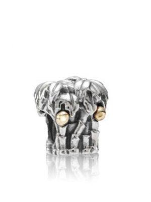 Pandora Charm - Silber Palmen mit Kokosnüssen aus Gold - 790521 bicolor