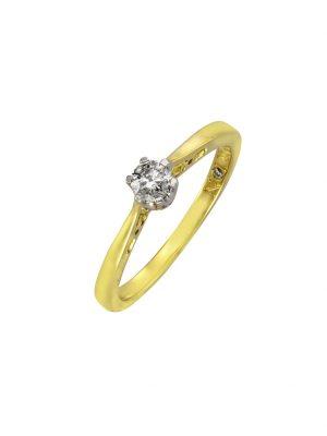 Ring 585/- Gold Brillant weiß Brillant Glänzend 0,25ct. Diamonds by Ellen K. gelb