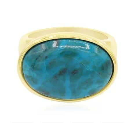 Ring aus vergoldetem Silber mit Chrysokoll