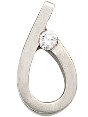 SIGO Anhänger Tropfen 950 Platin matt 1 Diamant Brillant Platinanhänger