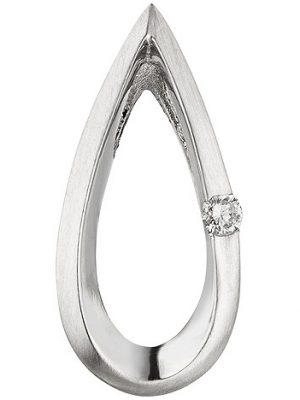 SIGO Anhänger Tropfen 950 Platin teil matt 1 Diamant Brillant 0,025ct. Platinanhänger