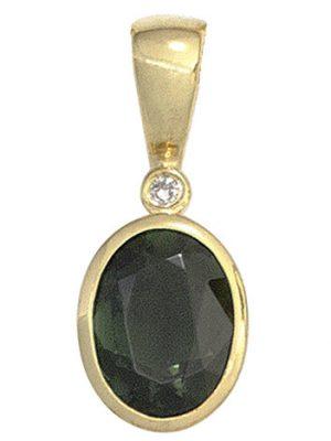 SIGO Anhänger oval 585 Gold Gelbgold 1 Turmalin grün 1 Diamant 0,01ct. Goldanhänger