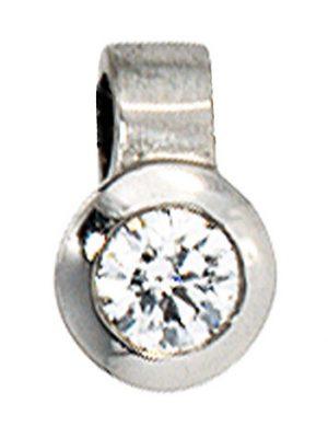 SIGO Anhänger rund 950 Platin matt 1 Diamant Brillant 0,12ct. Platinanhänger