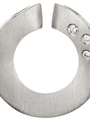 SIGO Anhänger rund 950 Platin mattiert 4 Diamanten Brillanten 0,06ct. Platinanhänger