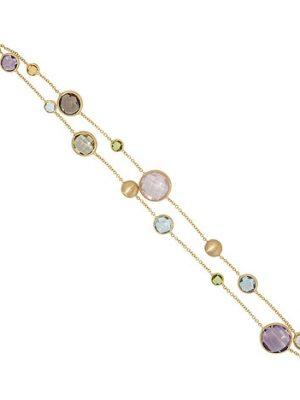 SIGO Armband 585 Gold Gelbgold mattiert mit Edelsteinen Goldarmband Karabiner