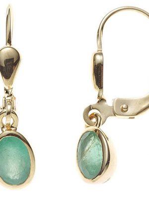 SIGO Boutons oval 585 Gold Gelbgold 2 Smaragde grün Ohrringe Ohrhänger Goldohrringe
