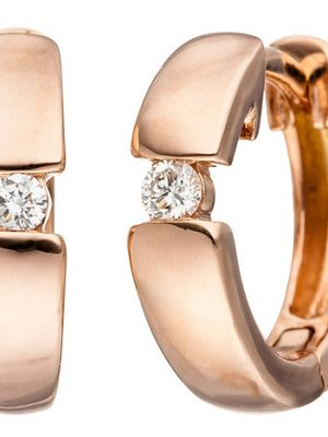 SIGO Creolen 585 Gold Rotgold 2 Diamanten Brillanten Ohrringe Rotgoldohrringe