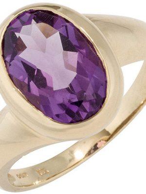 SIGO Damen Ring 585 Gold Gelbgold 1 Amethyst lila violett Goldring