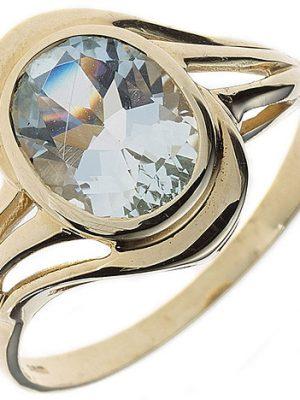 SIGO Damen Ring 585 Gold Gelbgold 1 Aquamarin hellblau blau Goldring
