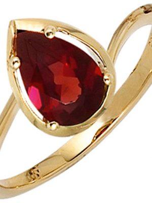 SIGO Damen Ring 585 Gold Gelbgold 1 Granat rot Goldring Granatring Tropfen