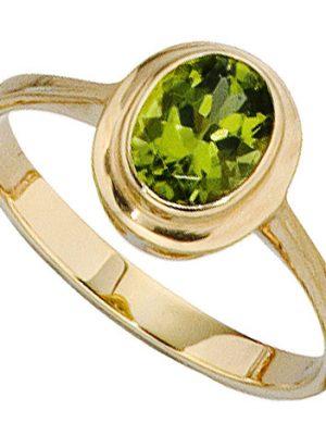 SIGO Damen Ring 585 Gold Gelbgold 1 Peridot grün Goldring