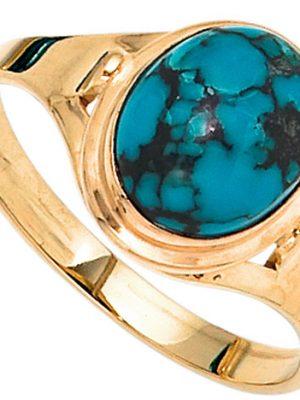 SIGO Damen Ring 585 Gold Gelbgold 1 Türkis Goldring